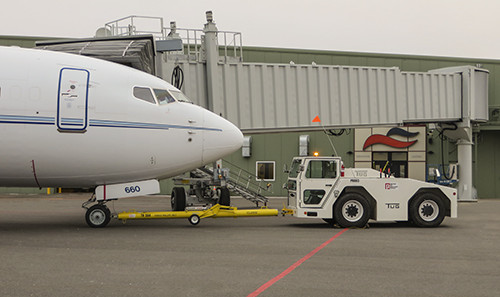 Unique to the jetway's design are built-in safety features, including a cabin floor deicer and an external camera with LCD display in the operational cab showing any movement under tunnels and around wheels.